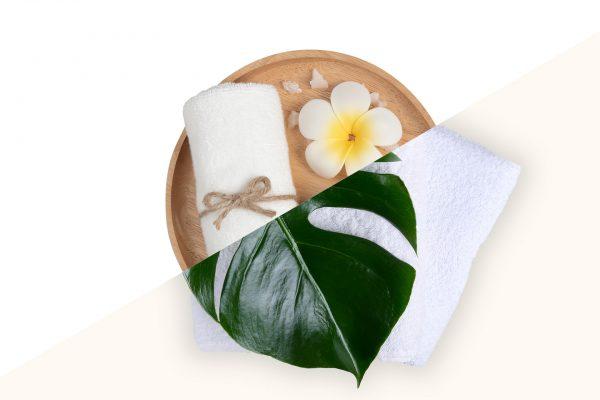 spa e asciugamano con foglia